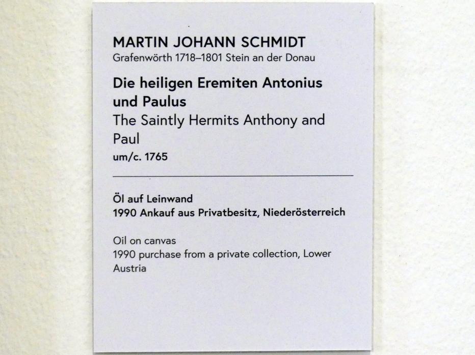 Martin Johann Schmidt (Kremser Schmidt): Die heiligen Eremiten Antonius und Paulus, um 1765, Bild 2/2