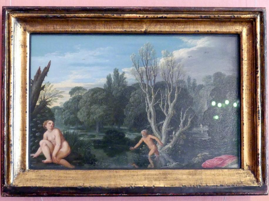 Johann König: Landschaft mit der Nymphe Arethusa und dem Flussgott Alpheus, Um 1625