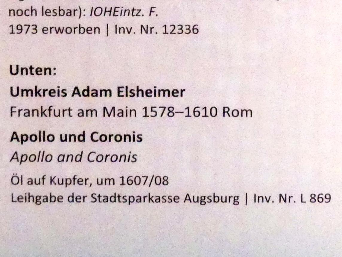 Adam Elsheimer (Umkreis): Apollo und Coronis, um 1607 - 1608, Bild 2/2