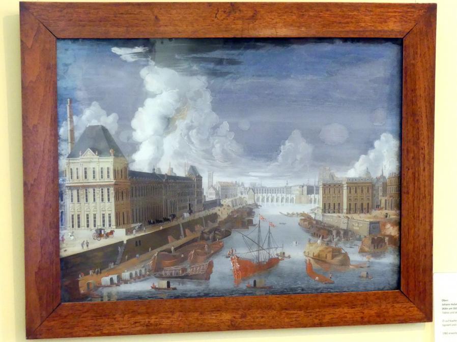 Johann Wolfgang Baumgartner: Paris mit der Seine -  Aussicht vom Pont-Rouge in Richtung Pont-Neuf, 1733 - 1746