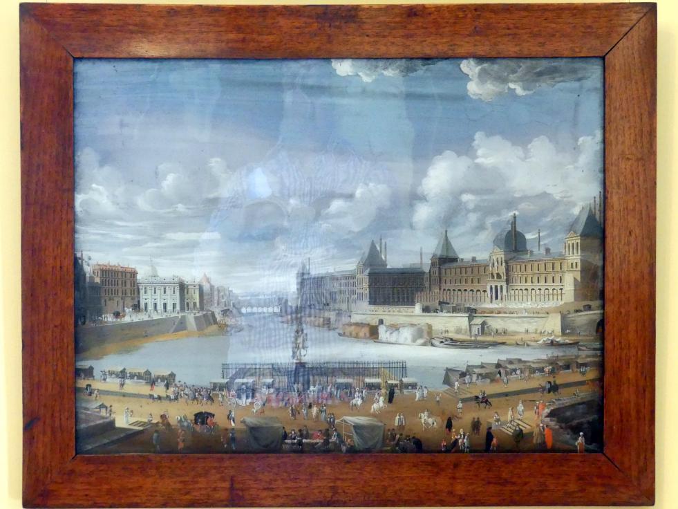 Johann Wolfgang Baumgartner: Paris mit der Seine -  Ansicht des Pont-Neufe mit reicher Figurenstaffage, 1733 - 1746