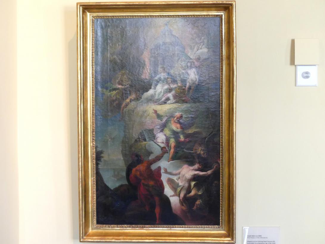 Joseph Adam von Mölk: Allegorie auf die Krönung Papst Clemens XIII. (Carlo della Torre Rezzonico, reg. 1758-1769), Um 1758