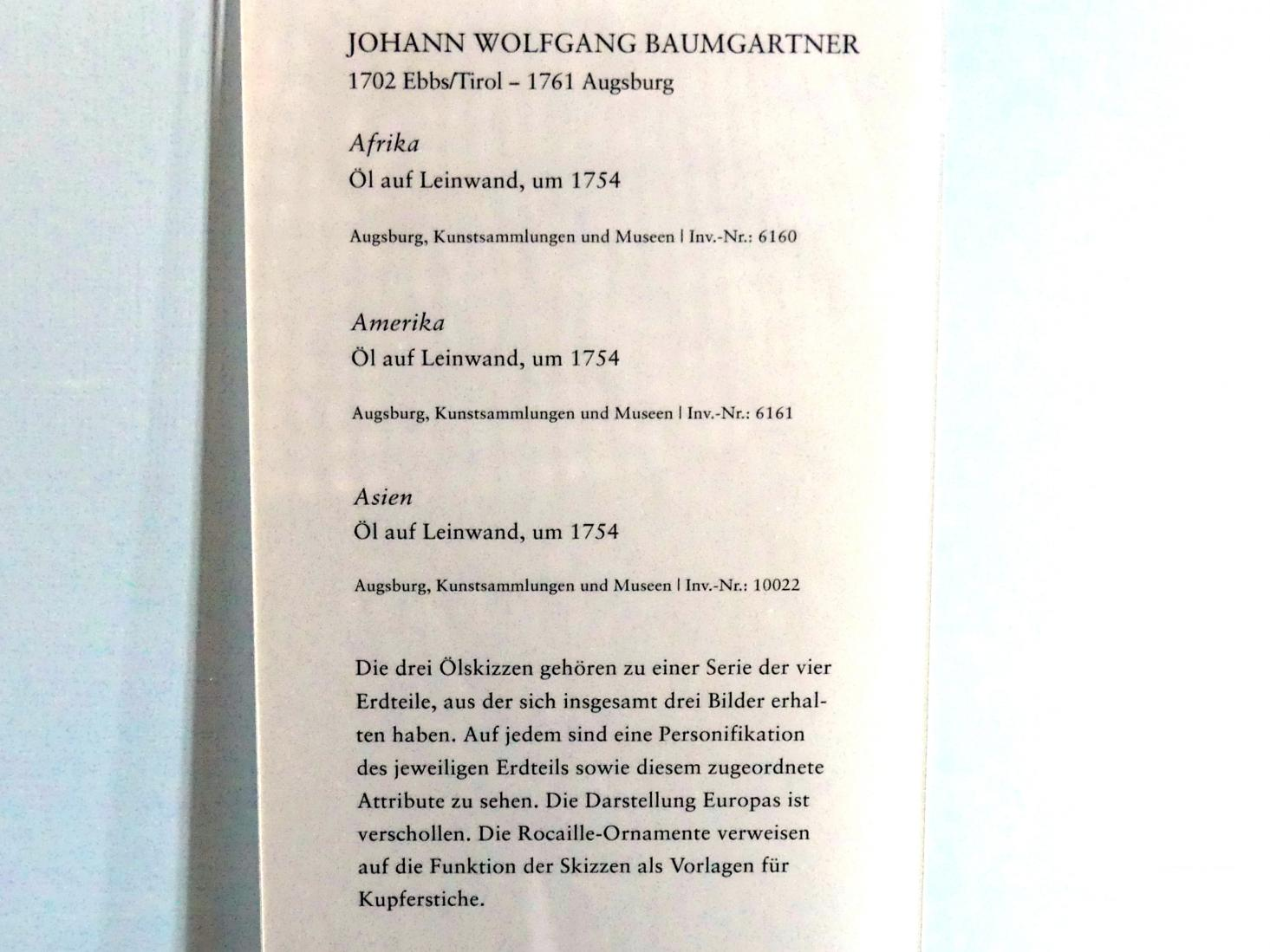 Johann Wolfgang Baumgartner: Asien, Um 1754