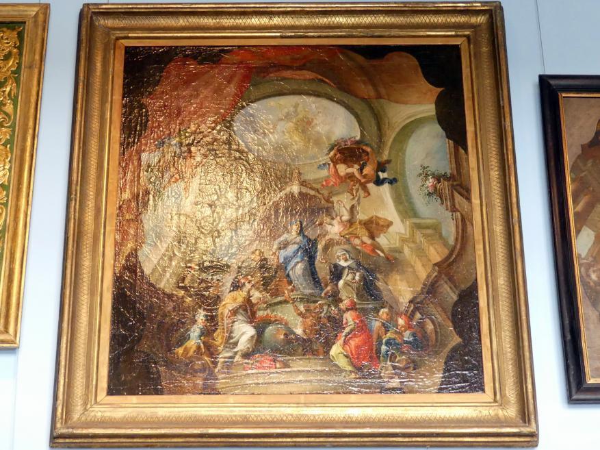 Johann Georg Wolcker: Die vier Weltteile verehren die schmerzhafte Maria als Rosenkranzspenderin, 1747