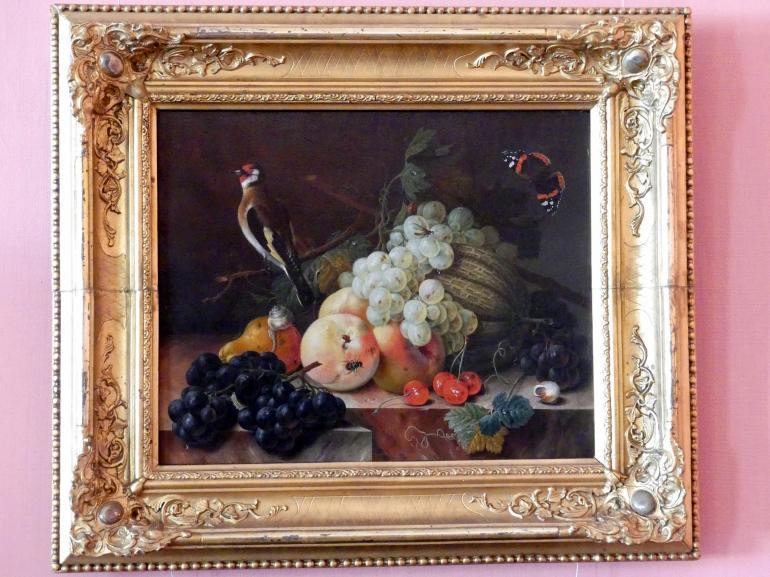 Johann Amandus Winck: Früchtestillleben mit Distelfink und Schmetterling, 1798