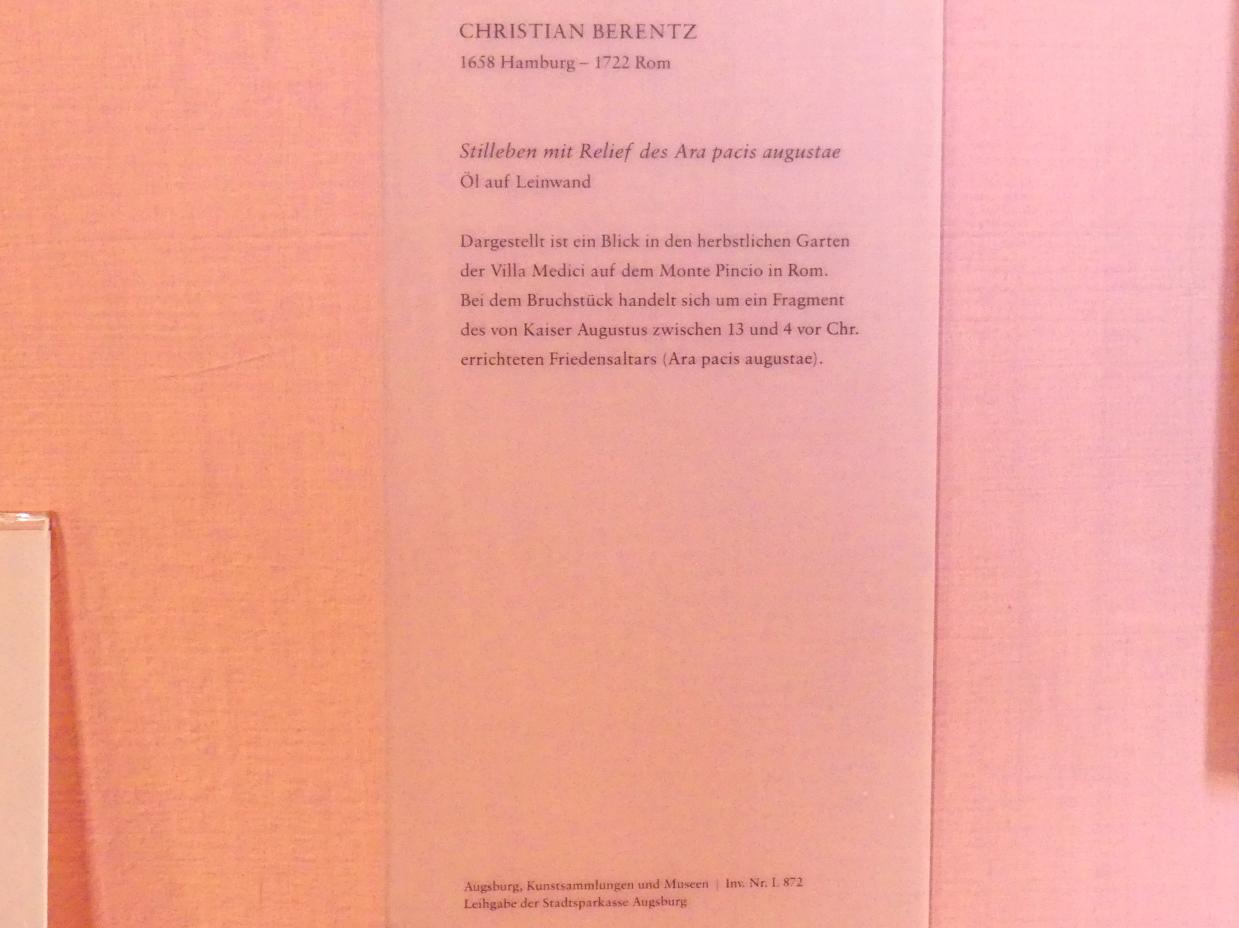 Christian Berentz: Stillleben mit Relief des Ara pacis augustae, Undatiert, Bild 2/2