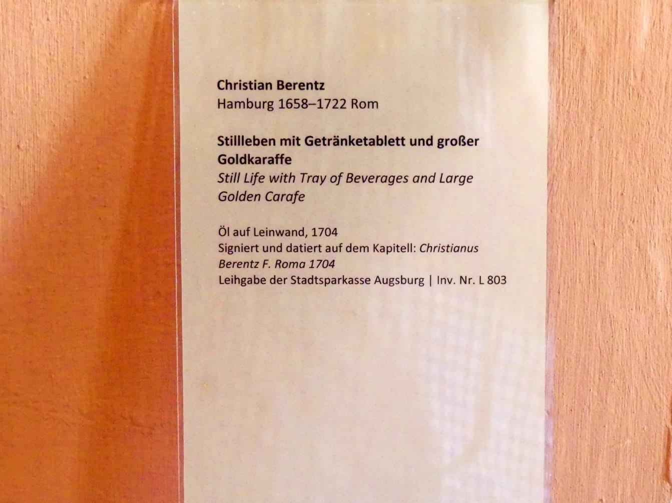 Christian Berentz: Stillleben mit Getränketablett und großer Goldkaraffe, 1704, Bild 2/3