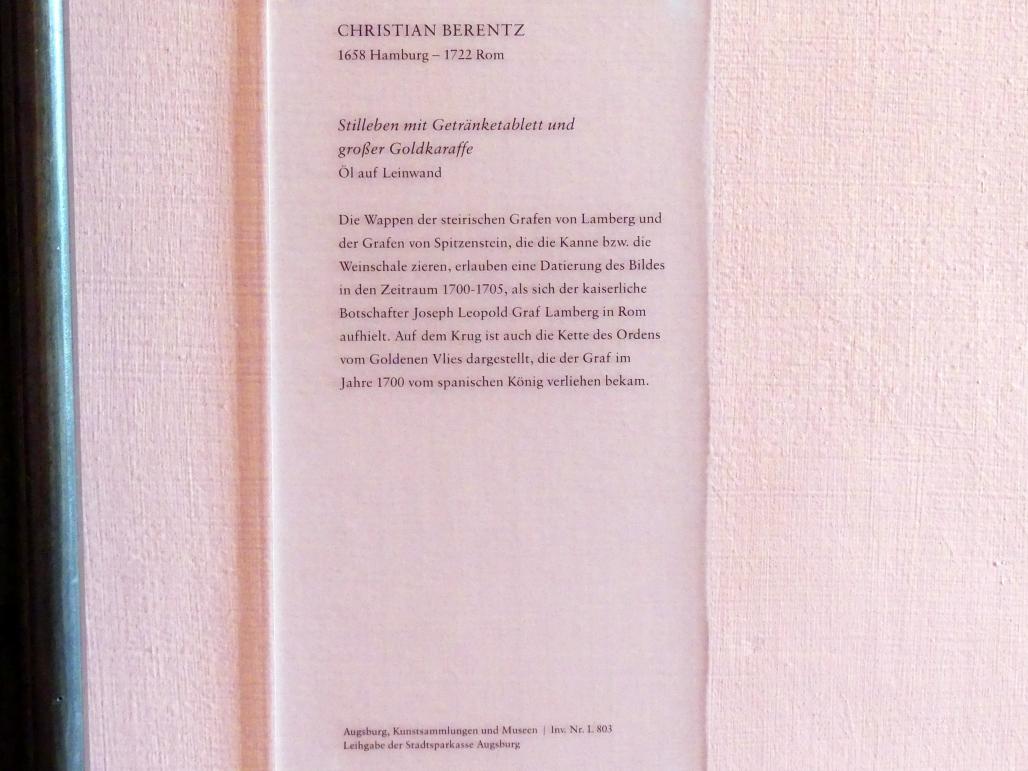 Christian Berentz: Stillleben mit Getränketablett und großer Goldkaraffe, 1704, Bild 3/3