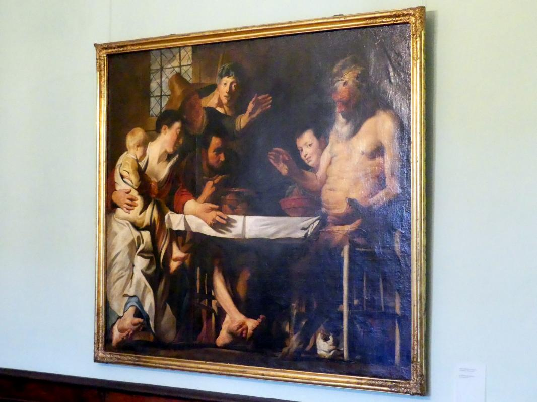 Jacob Jordaens (Werkstatt): Der Satyr bei der Bauernfamilie, 1620