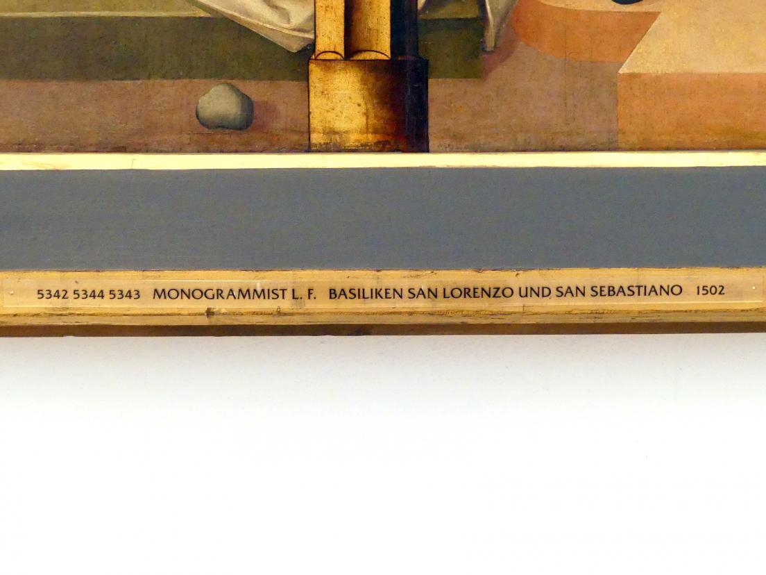 Monogrammist L. F.: Basiliken San Lorenzo und San Sebastiano, 1502, Bild 2/3