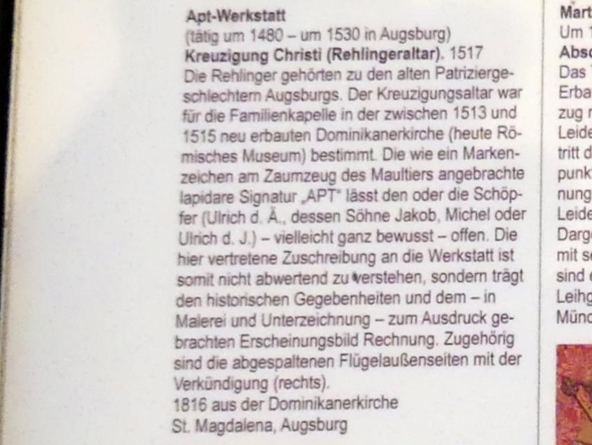 APT-Werkstatt: Kreuzigung Christi (Rehlingeraltar), 1517, Bild 8/8