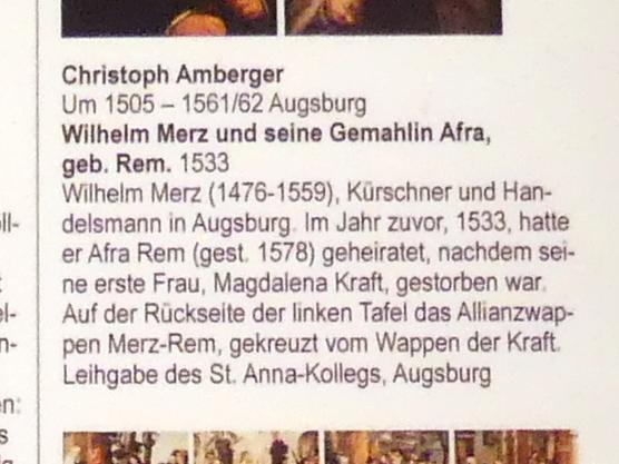 Christoph Amberger: Wilhelm Merz und seine Gemahlin Afra, geb. Rem, 1533, Bild 3/3