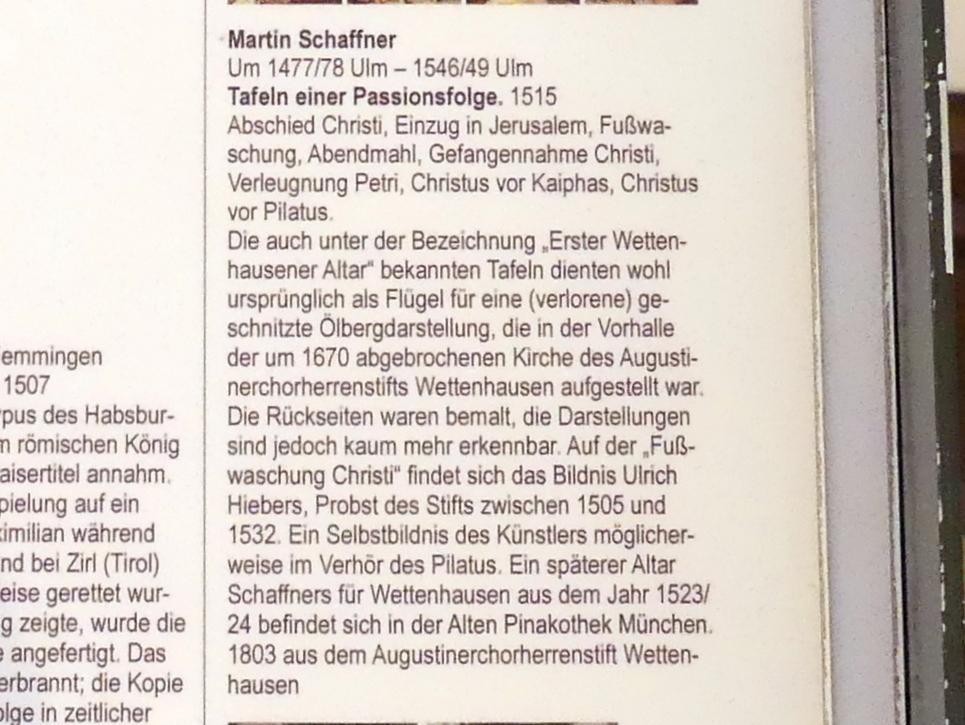 Martin Schaffner: Tafeln einer Passionsfolge, 1515, Bild 3/3