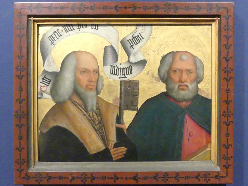 Bartholomäus Zeitblom (Werkstatt): Bildnis des Freiherrn Peter von Hewen mit dem Heiligen Petrus, seinem Schutzpatron, Um 1495