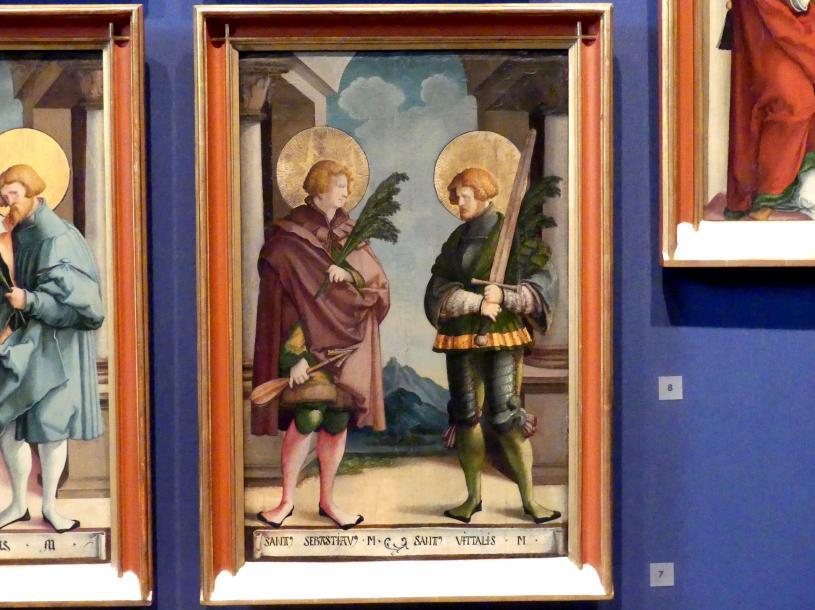 Meister von Meßkirch: Die heiligen Märtyrer Sebastian und Vitalis, 1535 - 1540