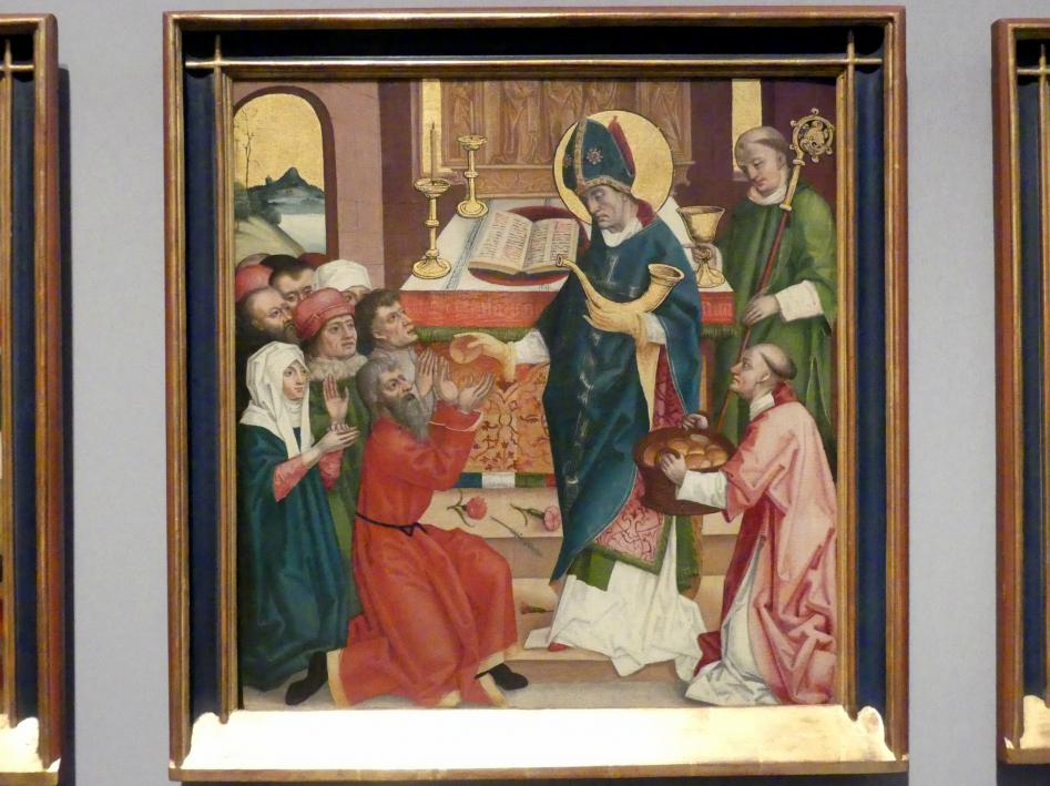 Badener Nelkenmeister (Werkstatt): Der Heilige Hubert teilt als Bischof von Lüttich Brot und Wein an das Volk aus, Um 1510