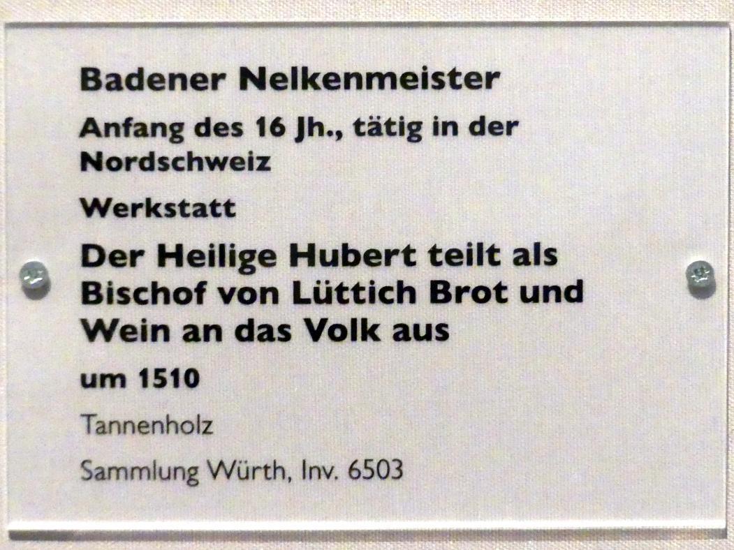 Badener Nelkenmeister (Werkstatt): Der Heilige Hubert teilt als Bischof von Lüttich Brot und Wein an das Volk aus, um 1510, Bild 2/2