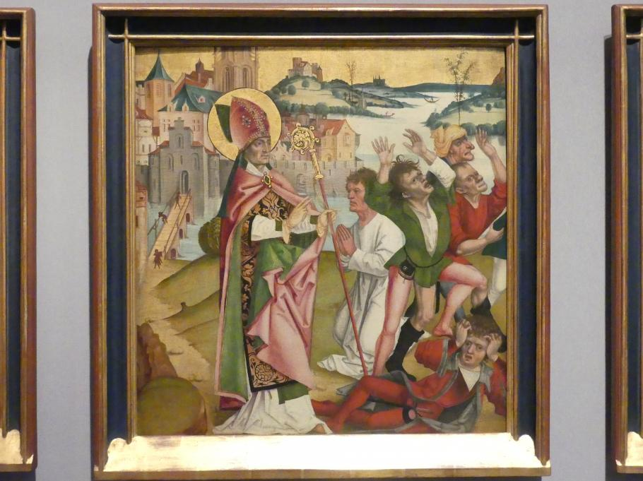 Badener Nelkenmeister (Werkstatt): Der Heilige Hubert heilt die Hundswütigen durch seinen Segen, Um 1510