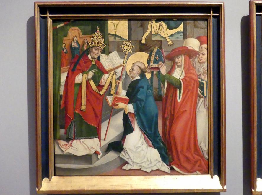 Badener Nelkenmeister (Werkstatt): Der Heilige Hubert wird in Rom von Papst Sergius I. zum Bischof geweiht, um 1510
