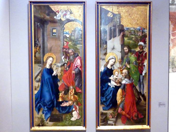 Hans Haider (Werkstatt): Zwei Flügel eines Retabels mit der Geburt Christi und der Anbetung der Heiligen Drei Könige, Um 1500