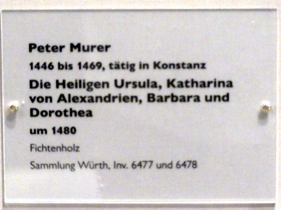 Peter Murer: Die Heiligen Ursula, Katharina von Alexandrien, Barbara und Dorothea, um 1480, Bild 4/4