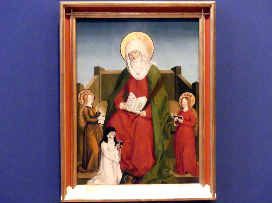 Hans Strüb: Inzigkofener Altar: Die Heiligen Monika mit den Heiligen Perpetua und Basilica und der Pröpstin Magdalena Weinschenk, 1505