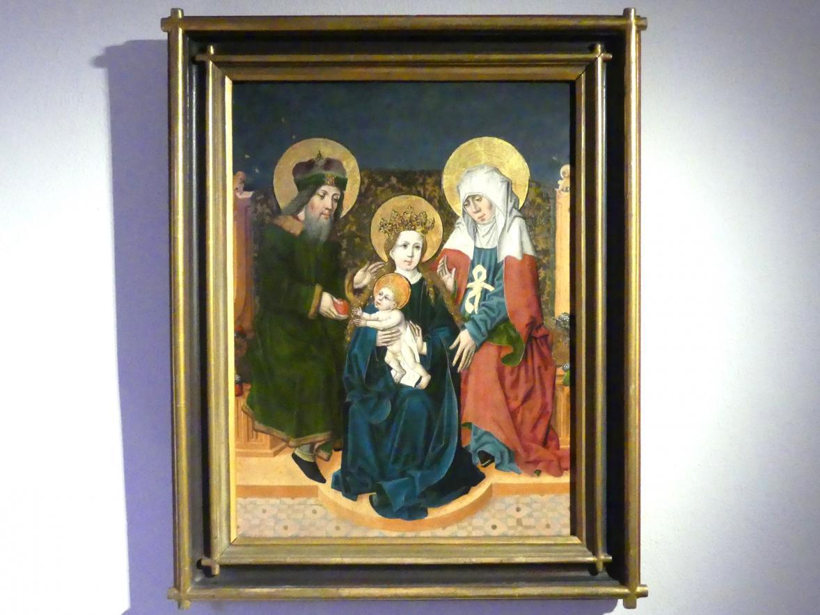 Meister des Speyerer Altars (Umkreis): Maria mit dem Kind und den Heiligen Joachim und Anna, ihren Eltern, um 1500