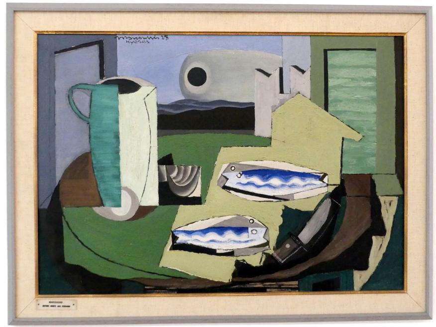 Louis Marcoussis: Blaue Fische (Stillleben mit Fischen), 1928
