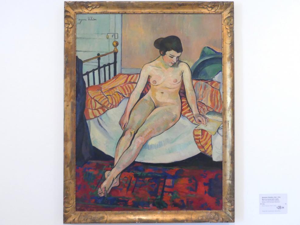 Suzanne Valadon: Akt mit gestreifter Decke, 1922
