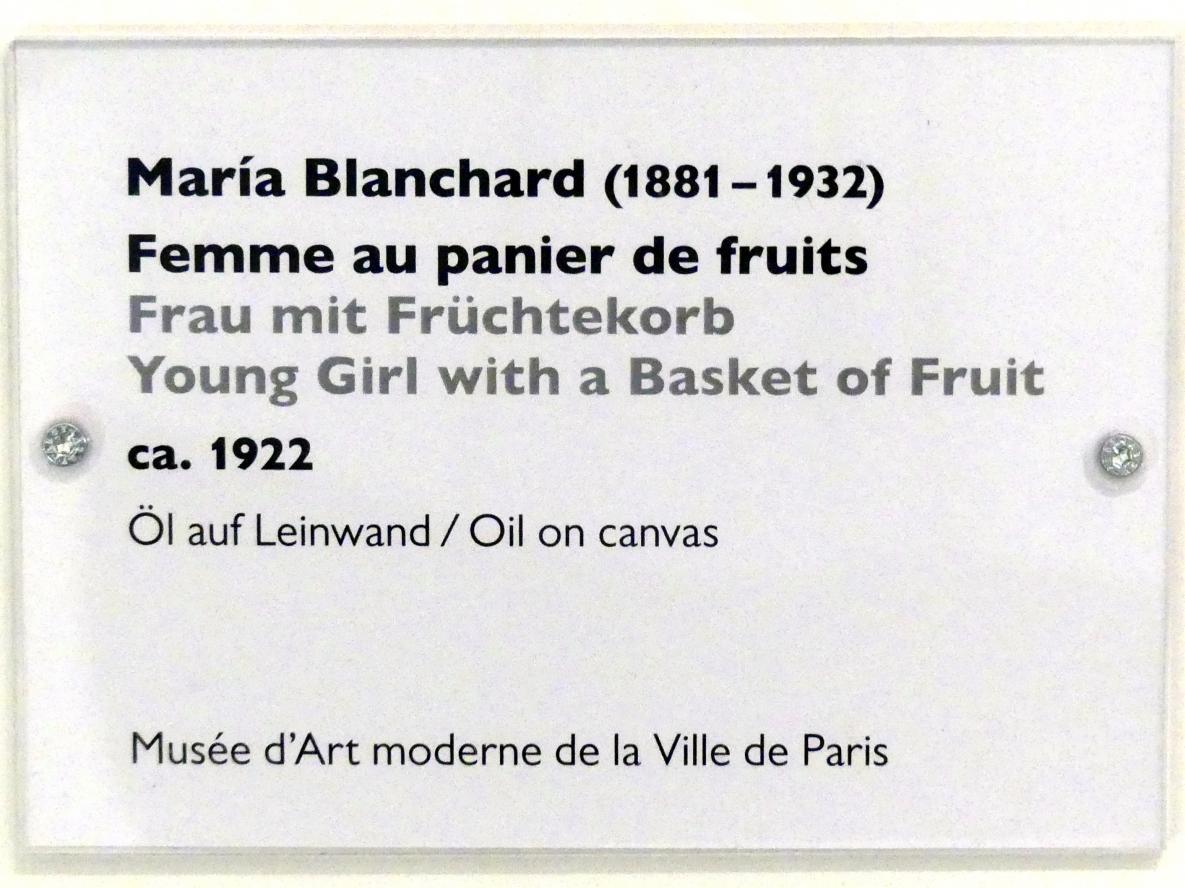 María Gutiérrez Blanchard: Frau mit Früchtekorb, Um 1922