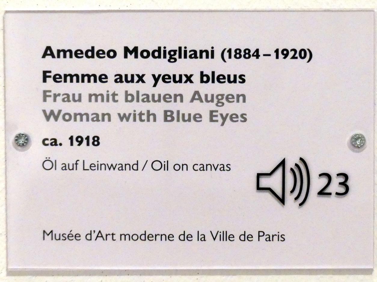 Amedeo Modigliani: Frau mit blauen Augen, Um 1918