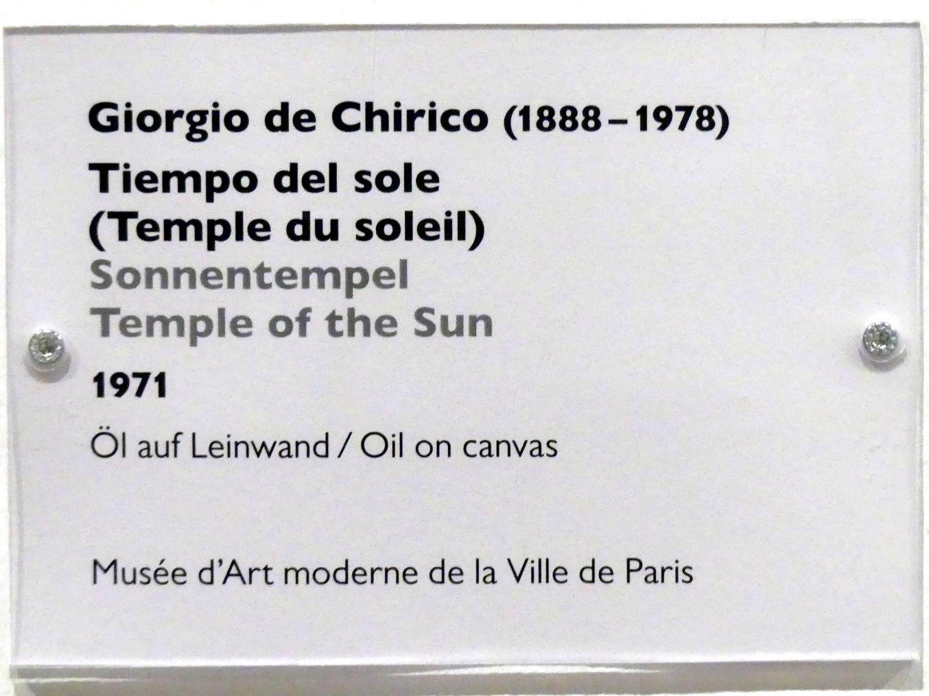 Giorgio de Chirico: Sonnentempel, 1971, Bild 2/2