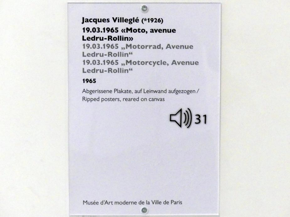 """Jacques de la Villeglé: 19.03.1965 """"Motorrad, Avenue Ledru-Rollin"""", 1965, Bild 2/2"""