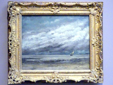 Gustave Courbet: Meeresküste mit Segelboot bei aufziehendem Gewitter, Um 1869
