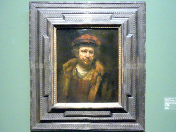 Rembrandt (Werkstatt): Selbstbildnis mit roter Mütze, Um 1660