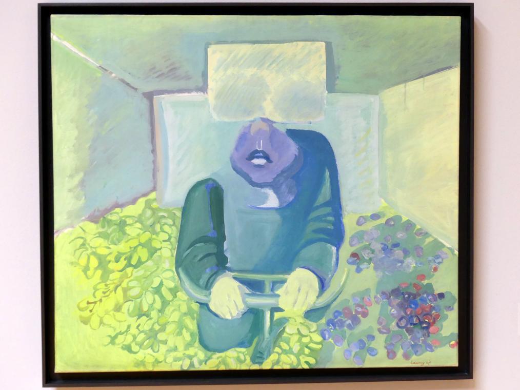 Maria Lassnig: Brettl vorm Kopf, 1967