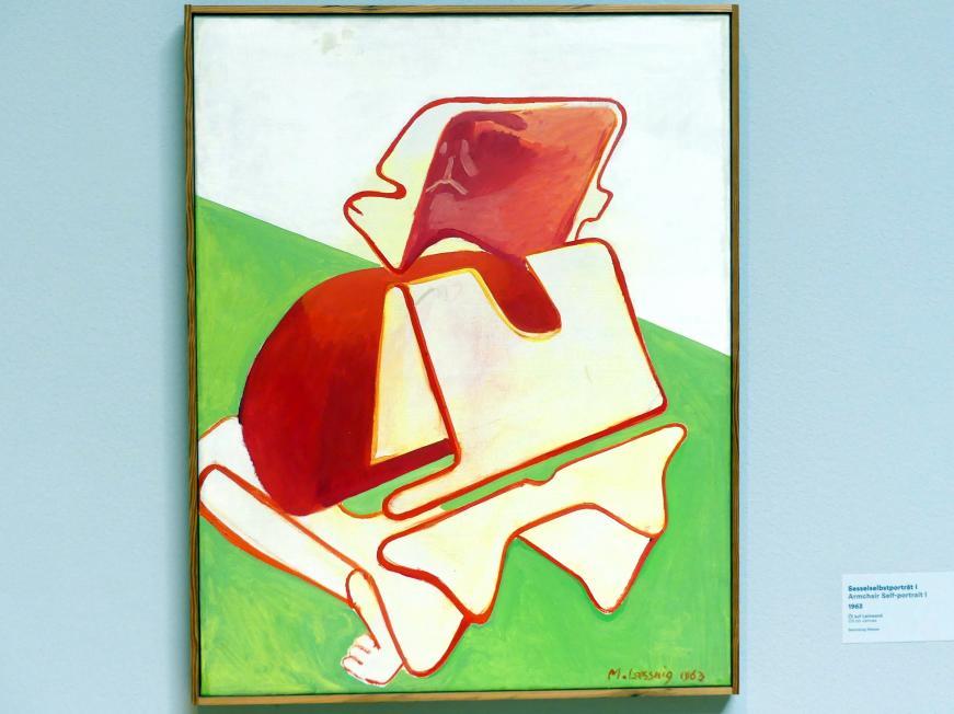 Maria Lassnig: Sesselselbstporträt I, 1963