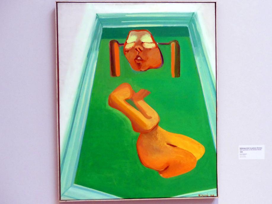 Maria Lassnig: Selbstporträt im grünen Zimmer, 1968