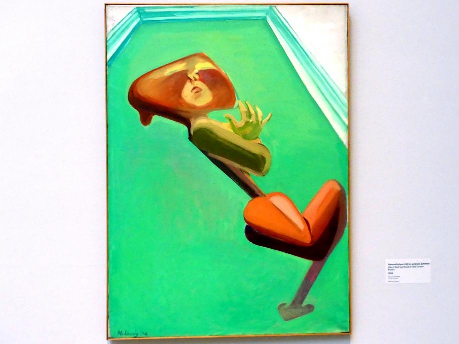 Maria Lassnig: Herzselbstporträt im grünen Zimmer, 1968