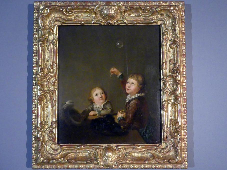 Heinrich Freudweiler: Die Graffschen Söhne Carl Anton und Georg beim Spiel mit Seifenblasen, 1784