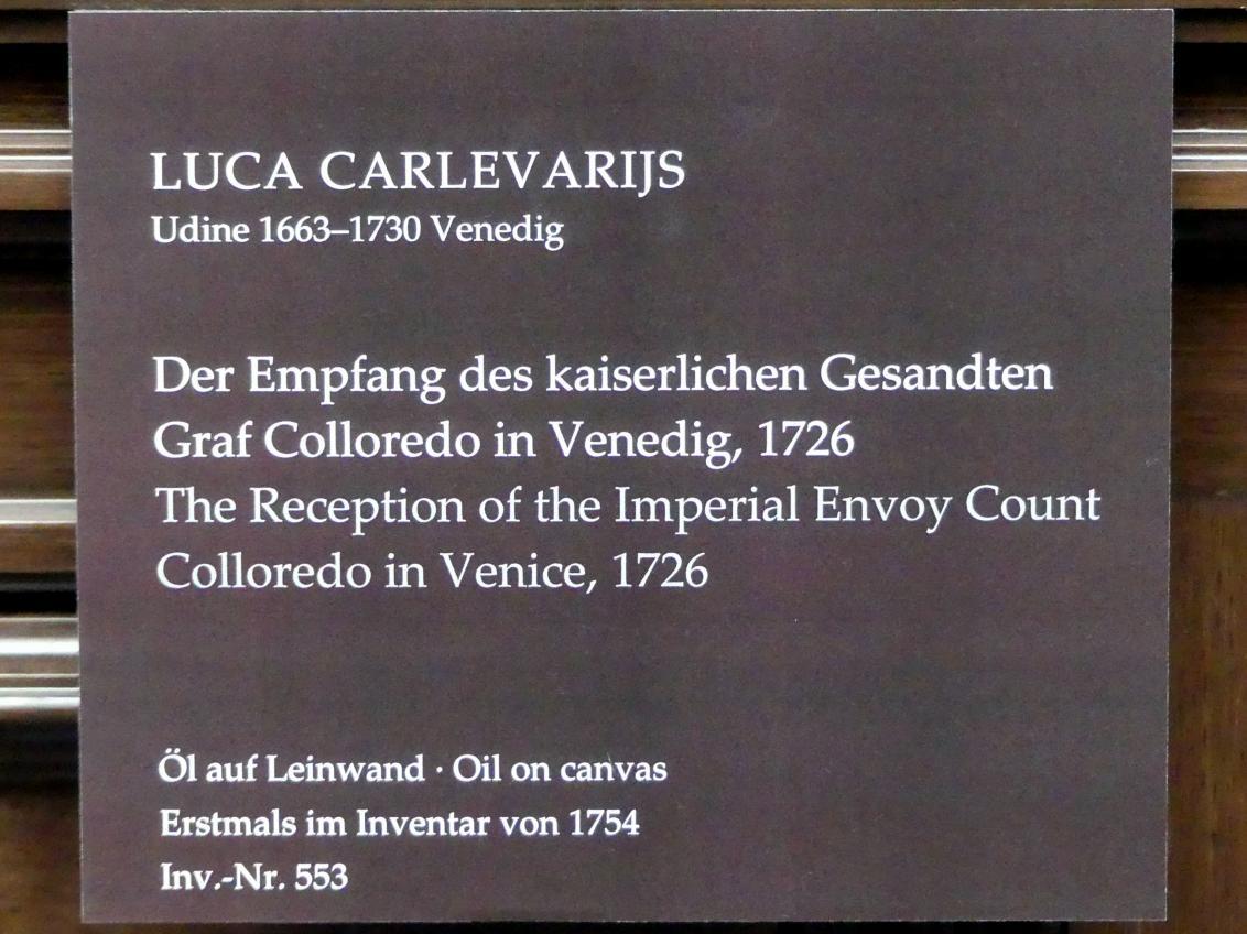 Luca Carlevarijs: Der Empfang des kaiserlichen Gesandten Graf Colloredo in Venedig, 1726, Bild 2/2
