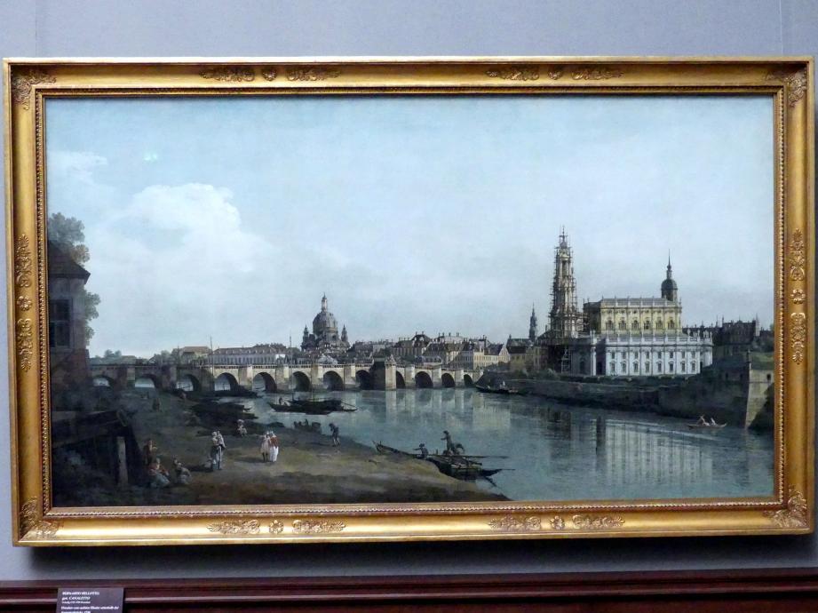 Bernardo Bellotto (Canaletto): Dresden vom rechten Elbufer unterhalb der Augustusbrücke, 1748