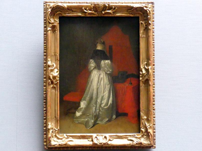 Gerard ter Borch: Eine Dame in weißem Atlas vor dem Bett mit roten Vorhängen, Um 1655