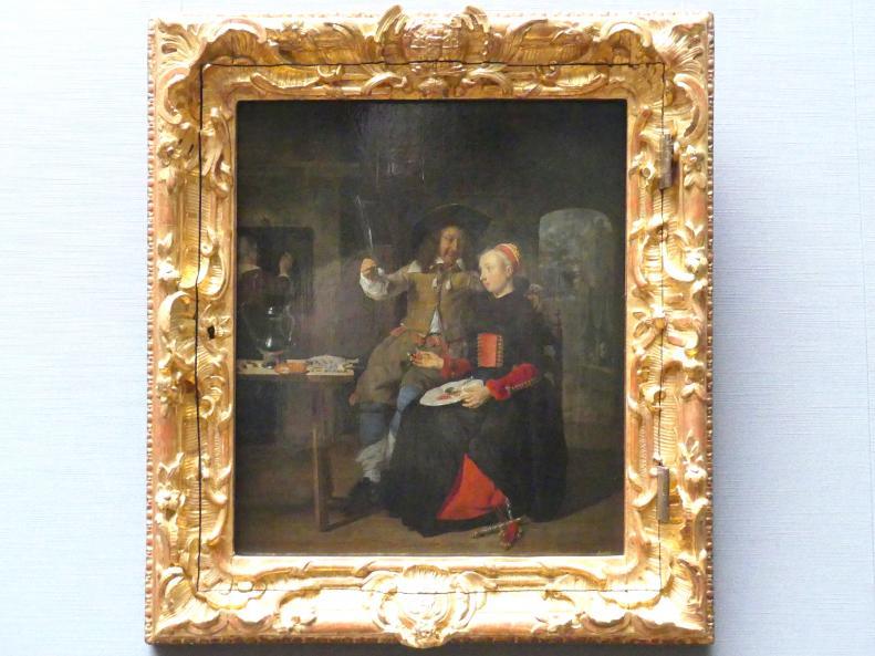 Gabriël Metsu: Selbstbildnis des Künstlers mit seiner Frau Isabella de Wolff im Wirtshaus, 1661