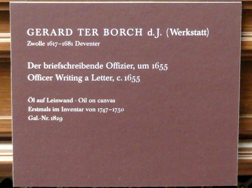 Gerard ter Borch (Werkstatt): Der briefschreibende Offizier, um 1655, Bild 2/2