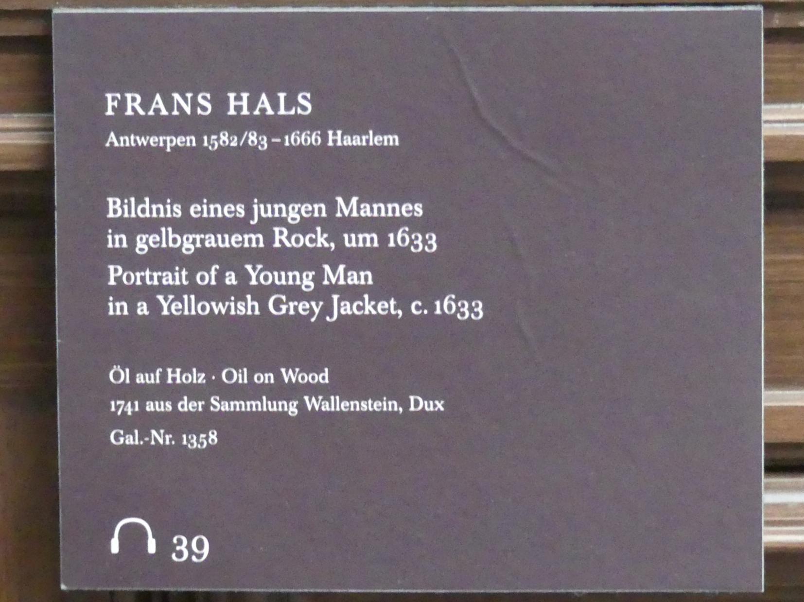 Frans Hals: Bildnis eines jungen Mannes in gelbgrauem Rock, um 1633, Bild 2/2