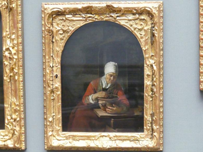 Frans van Mieris der Ältere: Die Alte mit dem Blumentopf, Undatiert