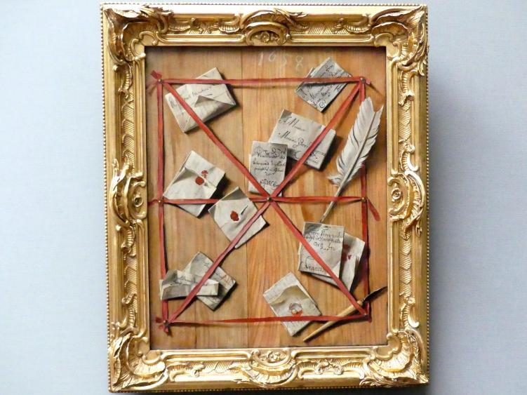 Wallerant Vaillant: Ein Brett mit Briefen, Federmesser und Schreibfeder hinter roten Bändern, 1658