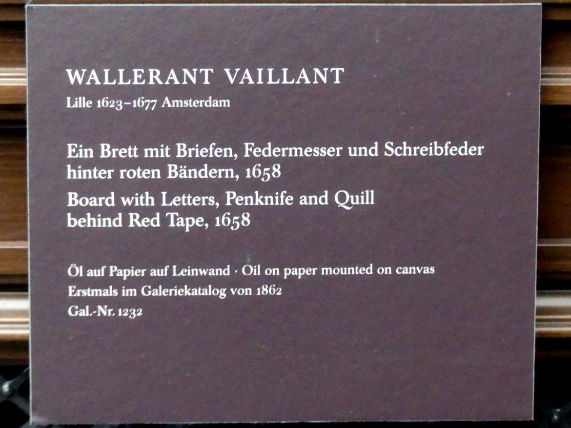 Wallerant Vaillant: Ein Brett mit Briefen, Federmesser und Schreibfeder hinter roten Bändern, 1658, Bild 2/2