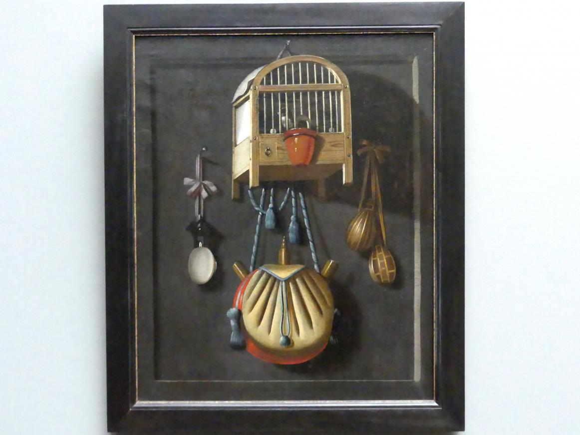 Anthonie Leemans: Stillleben mit Vogelbauer und Jagdutensilien, 1665